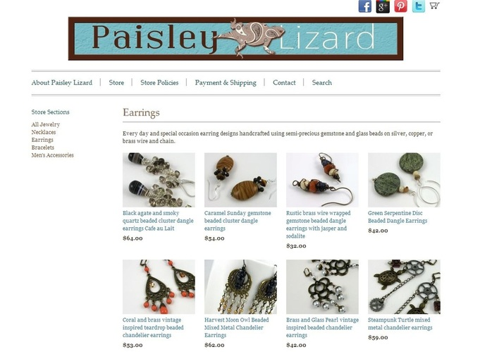 Screenshot of Earrings section of Paisley Lizard on Indie Made