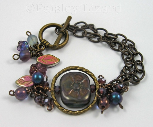 Picture of brass chain beaded bracelet