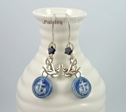 Anchors Aweigh Design Challenge and Blog Hop Sapphire Blue earrings