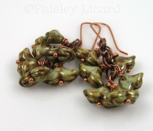 Lichen Drops copper chainmaille earrings