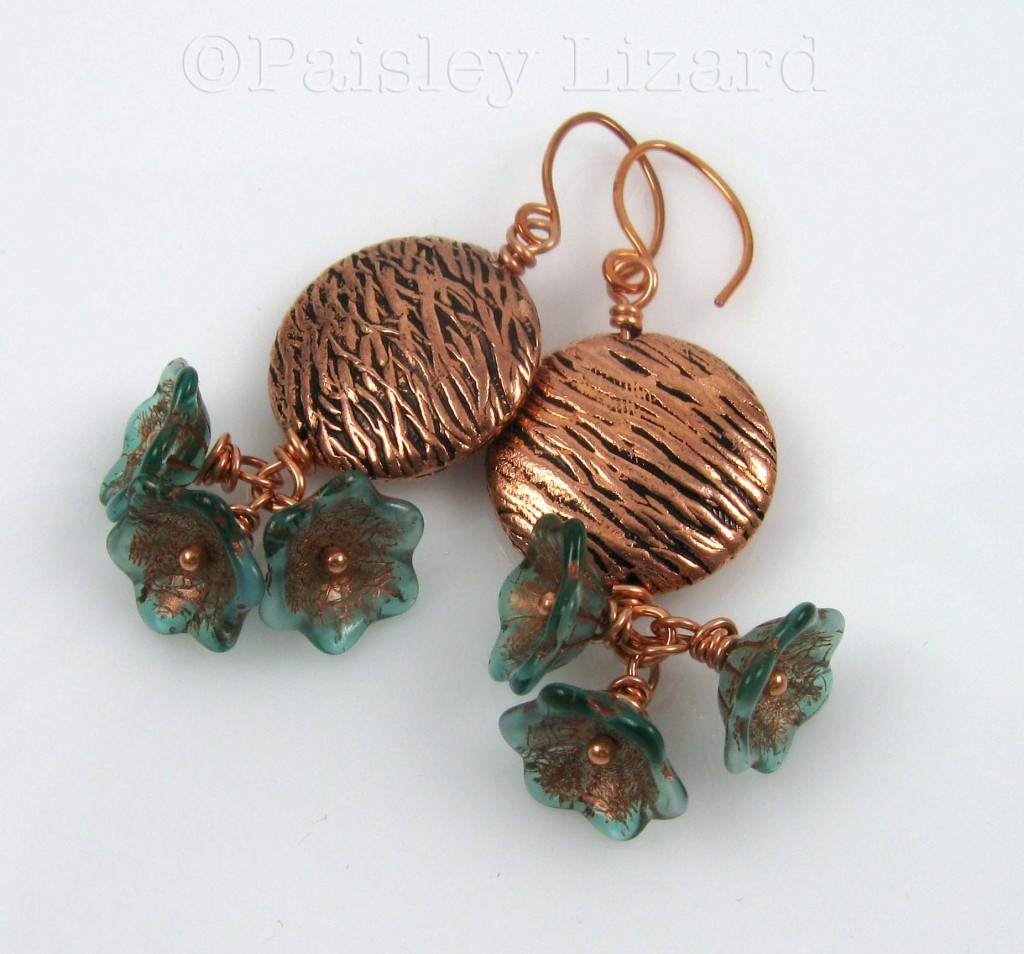 Lichen Blossom copper earrings