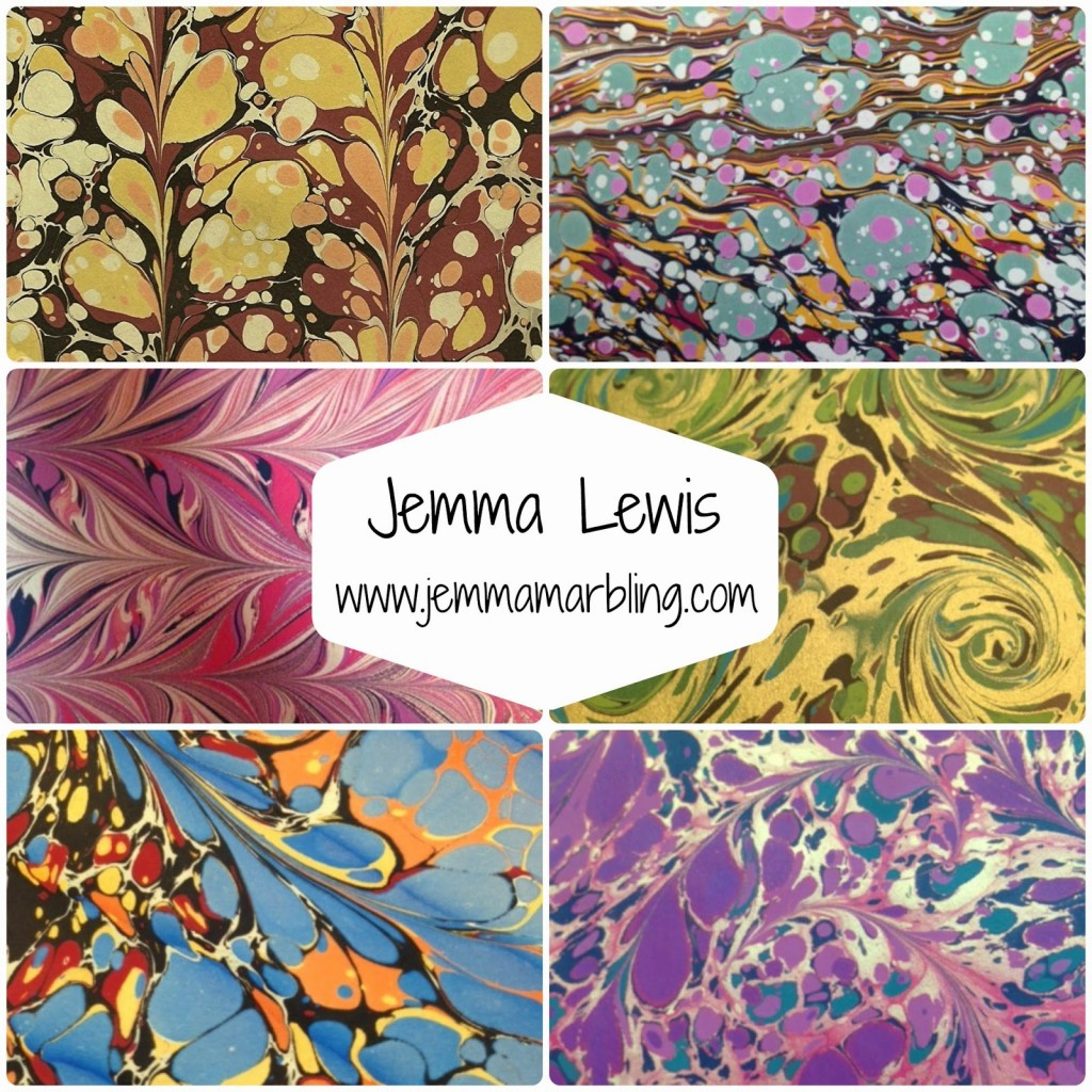 Collage of marbling by Jemma Lewis