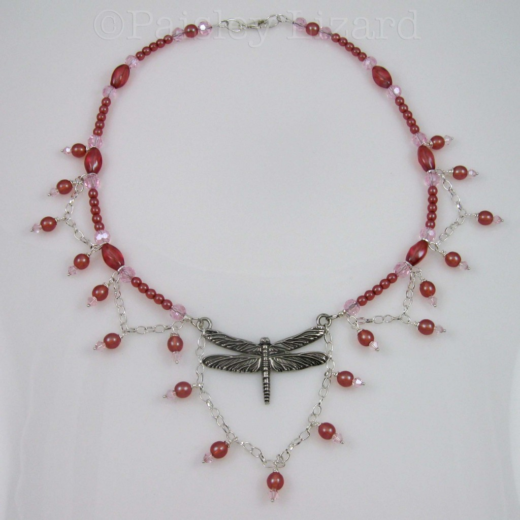 Edwardian-inspired beaded dragonfly necklace