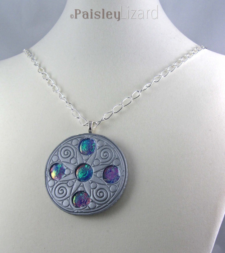 Polymer clay medallion necklace