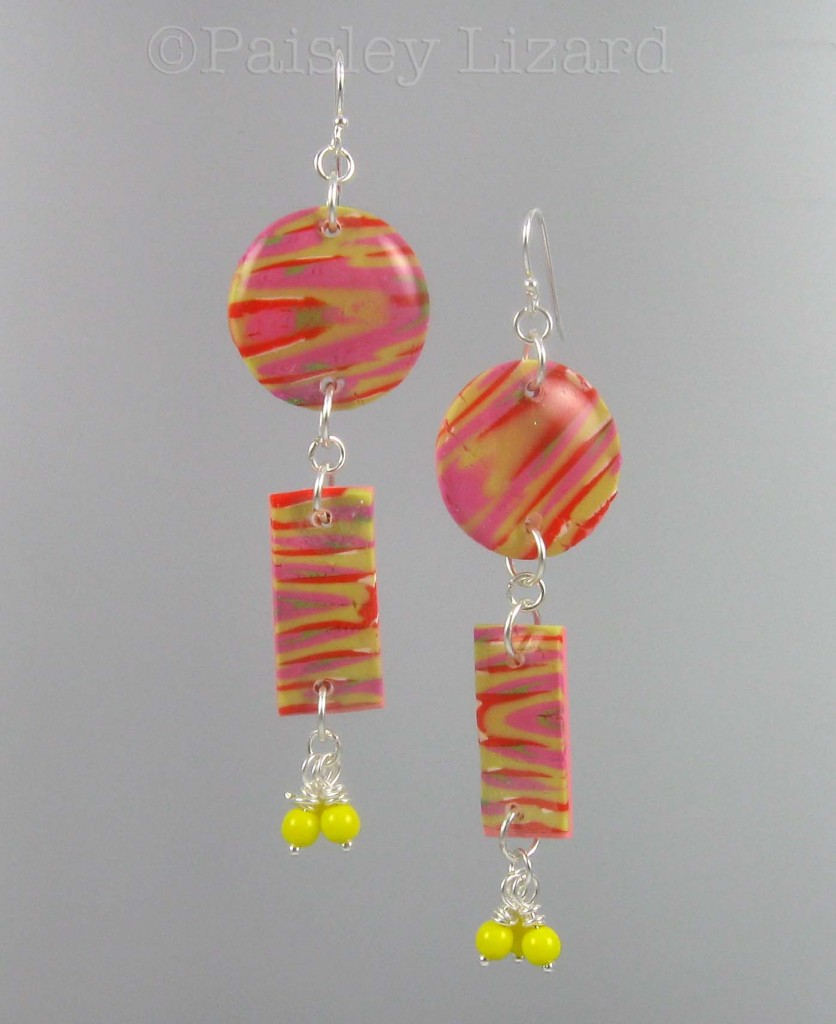 Marbled polymer clay earrings