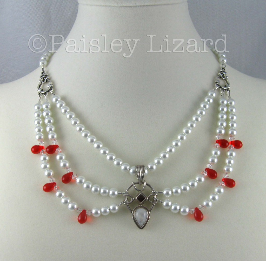 Glass pearl swag necklace