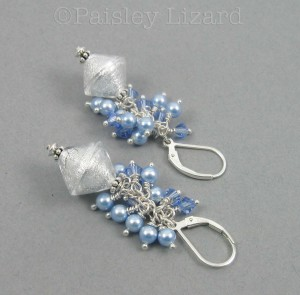 White and Blue Beaded Earrings
