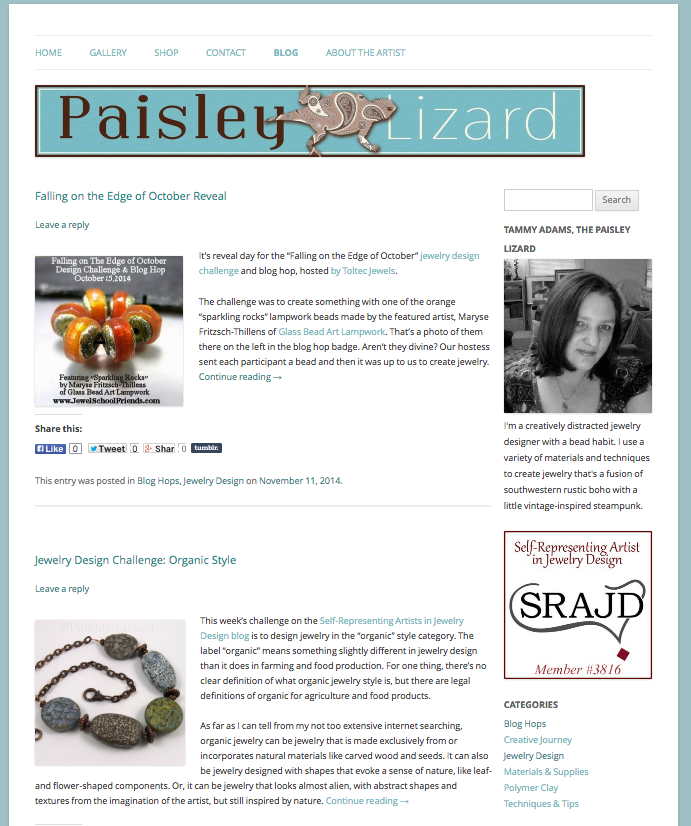 Paisley Lizard blog WordPress