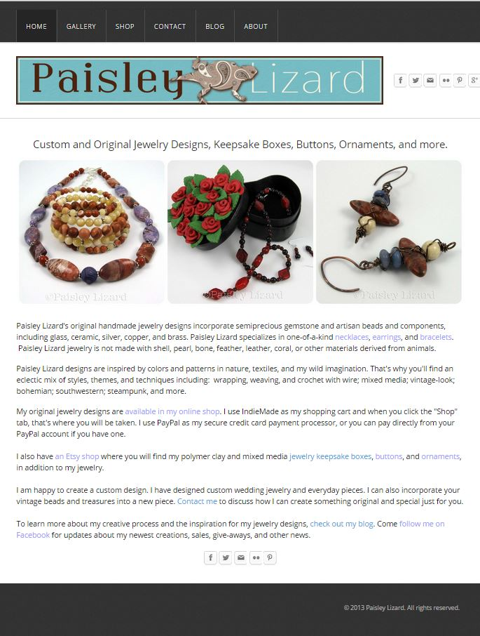 Paisley Lizard home page in Weebly