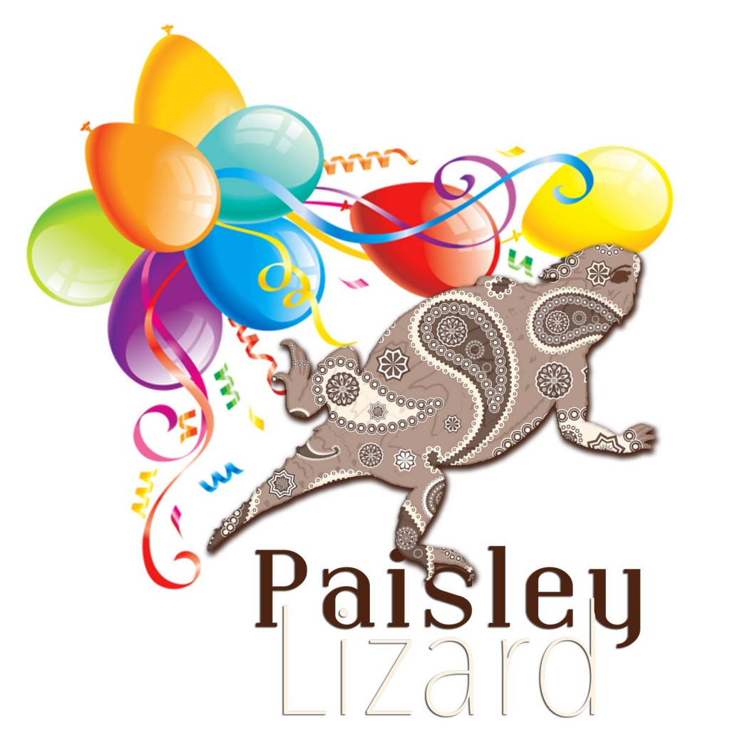 Paisley Lizard logo with balloons