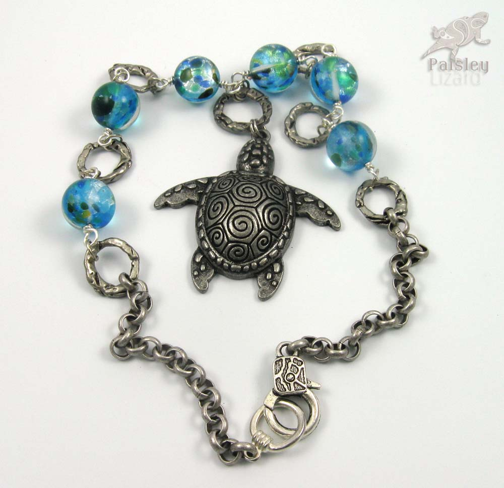 Blue marble turtle necklace