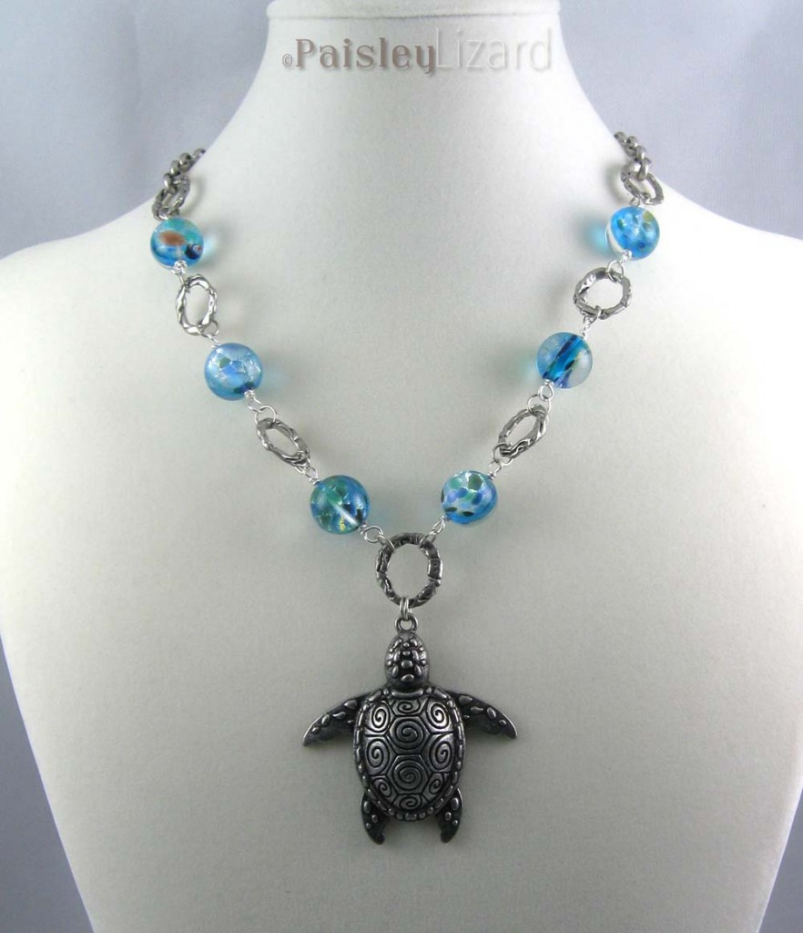 Blue Marble Sea Turtle necklace