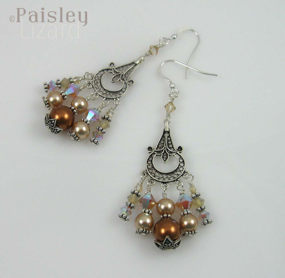 Champagne chandelier earrings