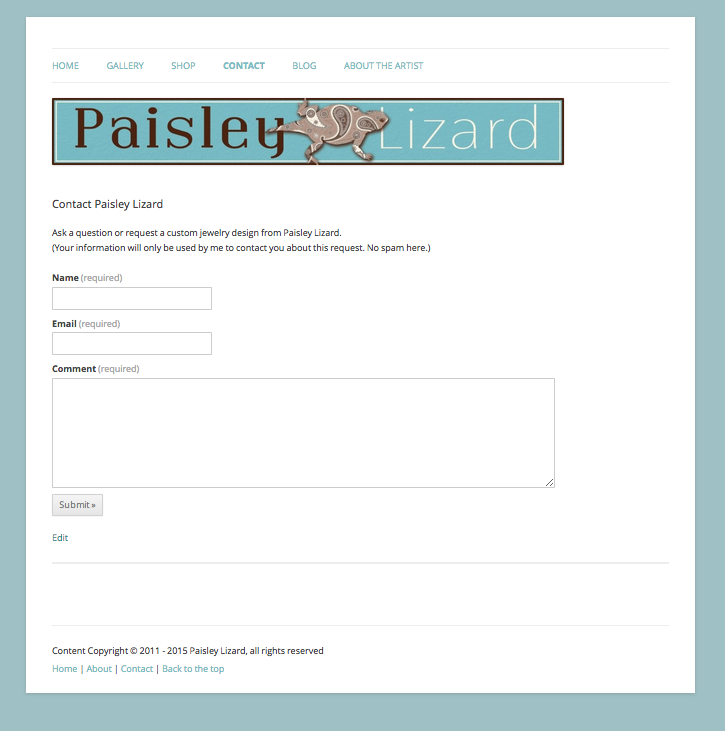 Contact Form Screenshot