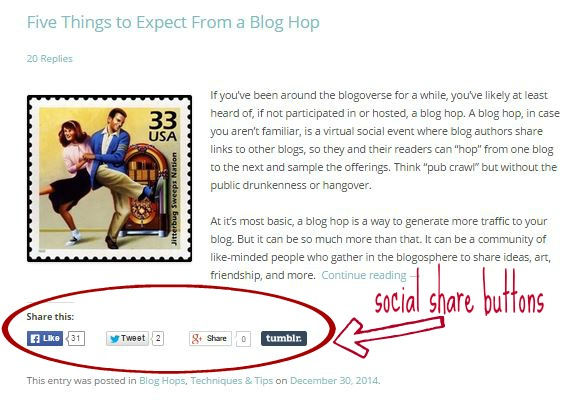 Blog post with social share buttons