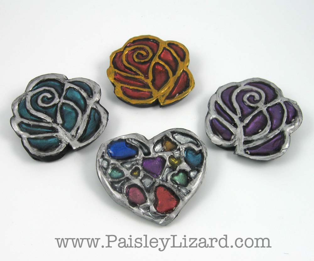 Faux Enameled Hearts and Roses Brooches
