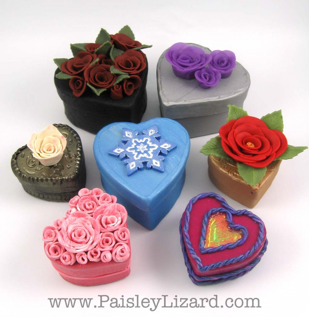Mixed Media Hearts keepsake boxes