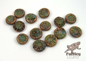 Faux copper patina beads