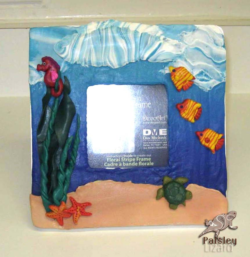 Under the Sea polymer clay photo frame