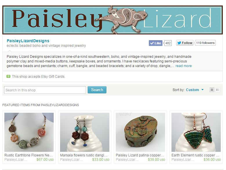 Paisley Lizard Designs Etsy shop banner