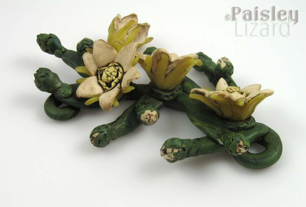 Cereus neckpiece antiqued with paint