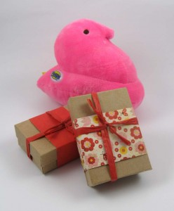 Pink  Peep with wrapped boxes