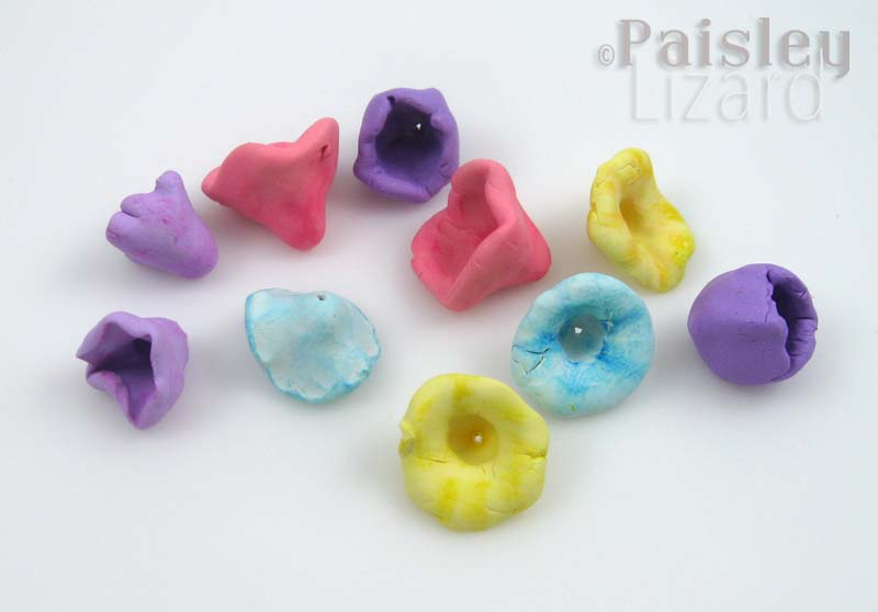 Rustic polymer clay flowers