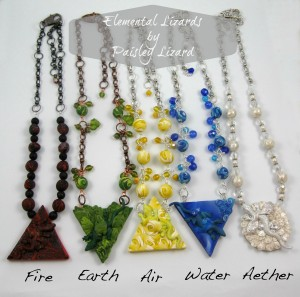 Elemental Lizards necklace collection