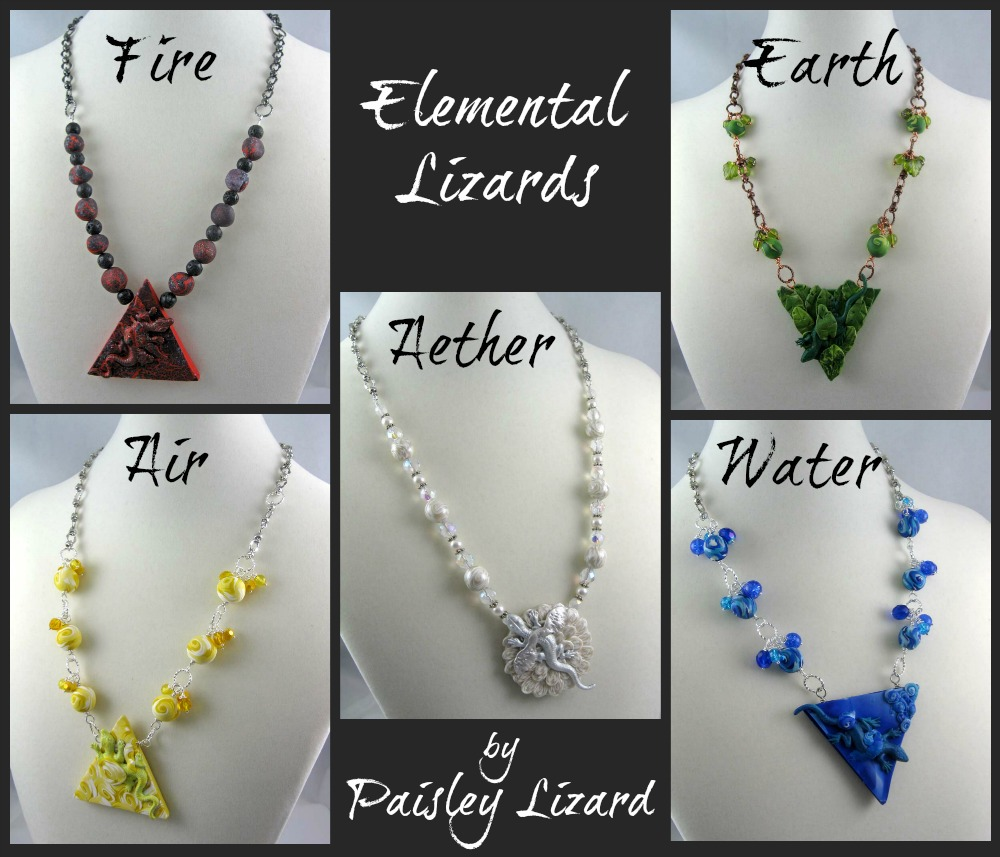 Five Elemental Lizards Necklaces in collage