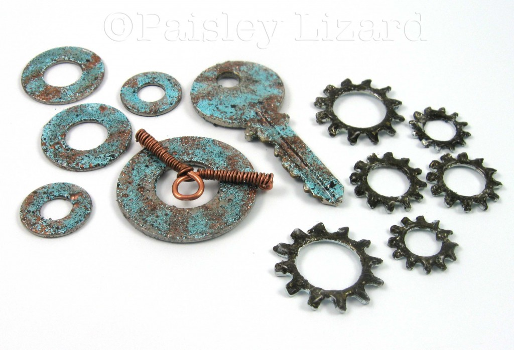 Washers and a key with Ice Resin faux copper patina
