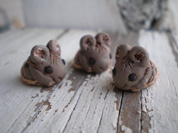 Brown mice beads by Jetta Bug Jewelry