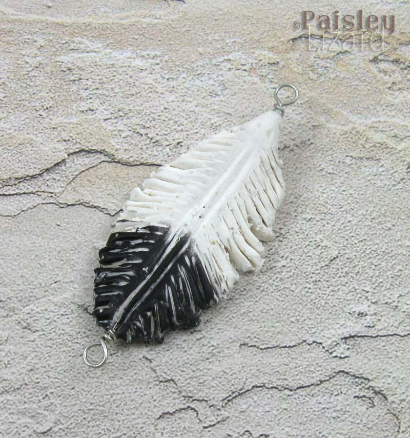 Polymer clay seagull feather
