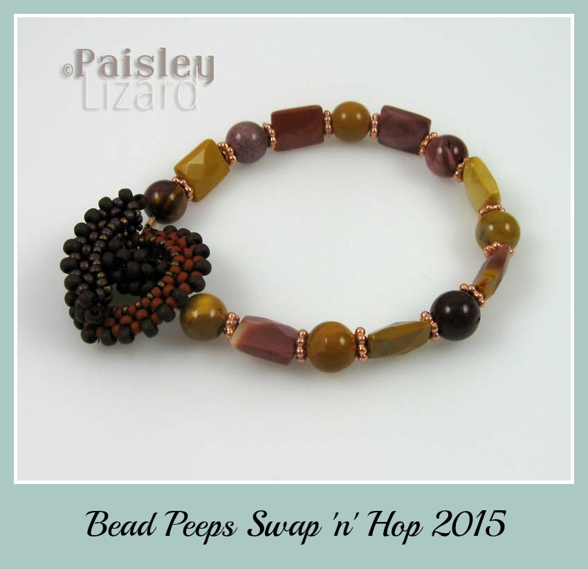 Moukaite bracelet with beaded toggle