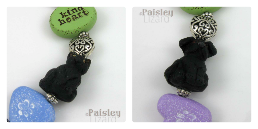 Close up of cat and dog beads