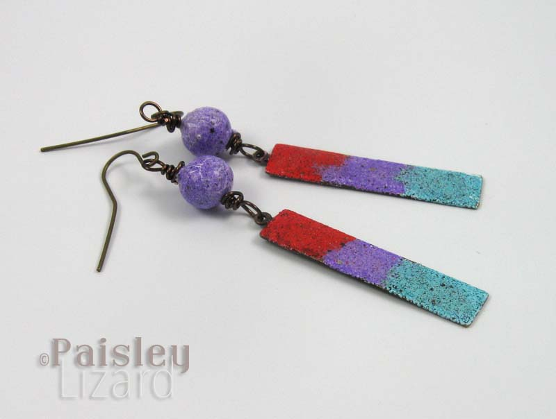 Earrings with Iced Enamels components
