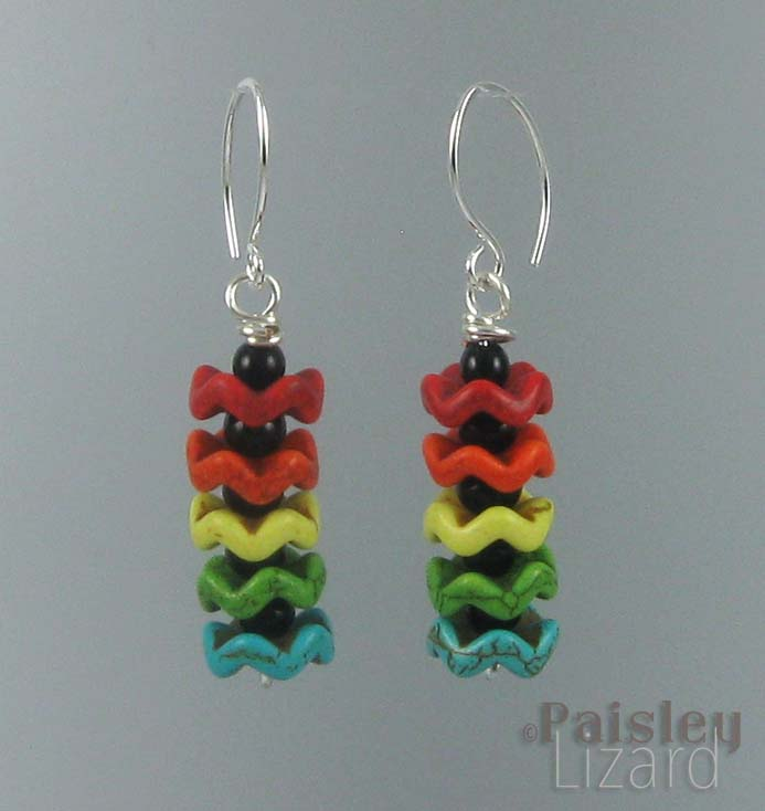 Rainbow earrings on wire