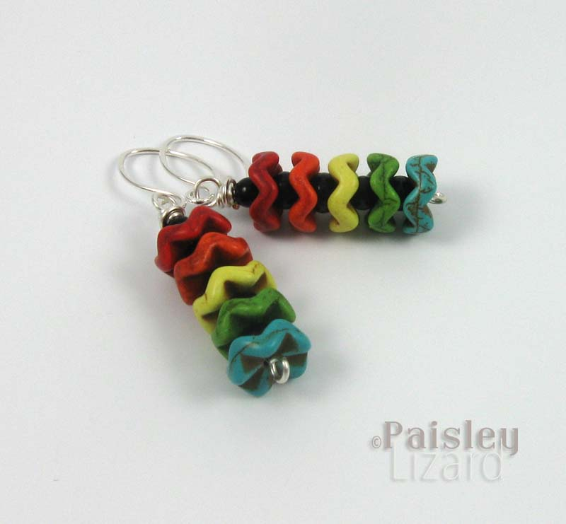 Rainbow earrings side view