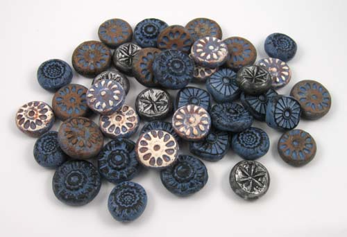 Rustic beads in blues and browns