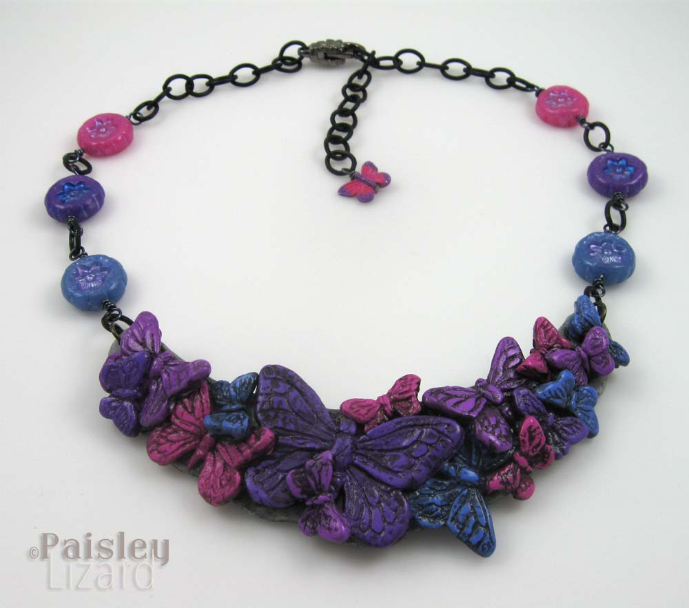 Purple pink blue butterfly necklace
