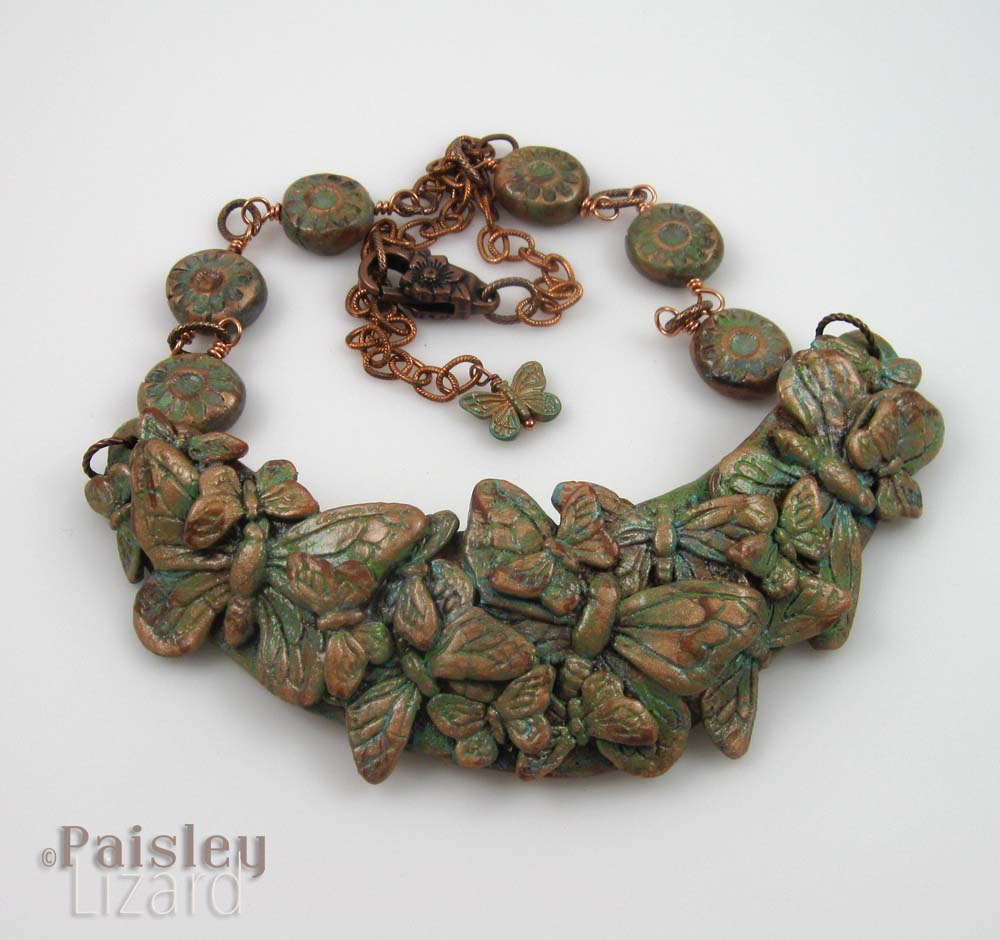 Copper patina butterfly necklace