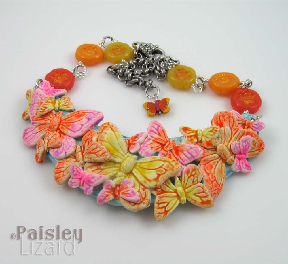 Faux ceramic butterfly necklace