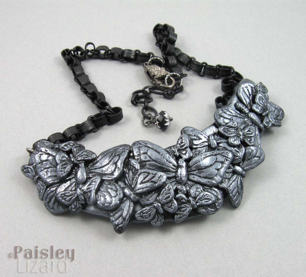 Oxidized silver butterfly necklace