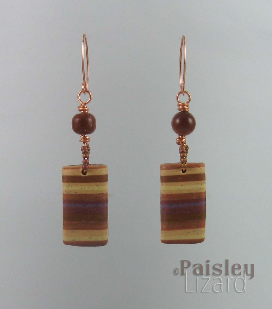 polymer clay earring suspended on wire
