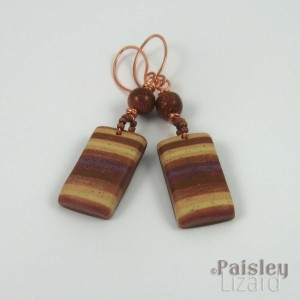 Polymer clay bead dangle earrings