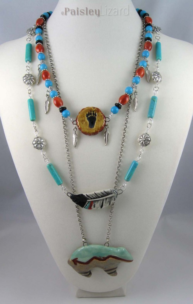 Layered Zuni bear necklace on bust