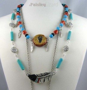 Layered necklace with feather