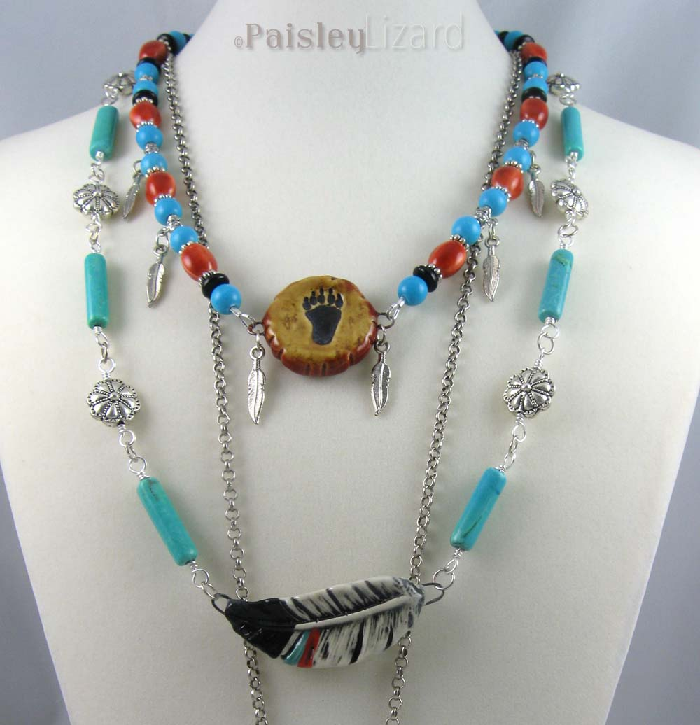 Jewelry design challenge zuni bear paisley lizard layered necklace with feather mozeypictures Choice Image