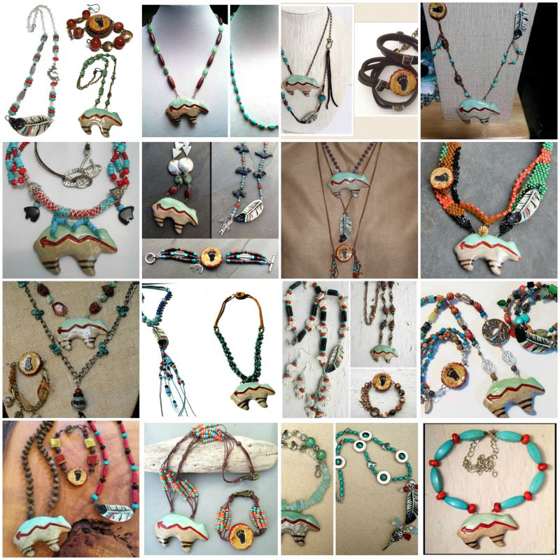 Collage of Zuni bear jewelry design entries