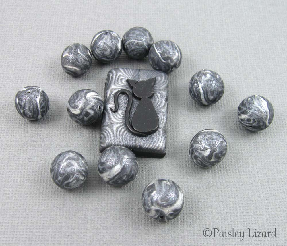Lucky Black Cat focal and accent beads