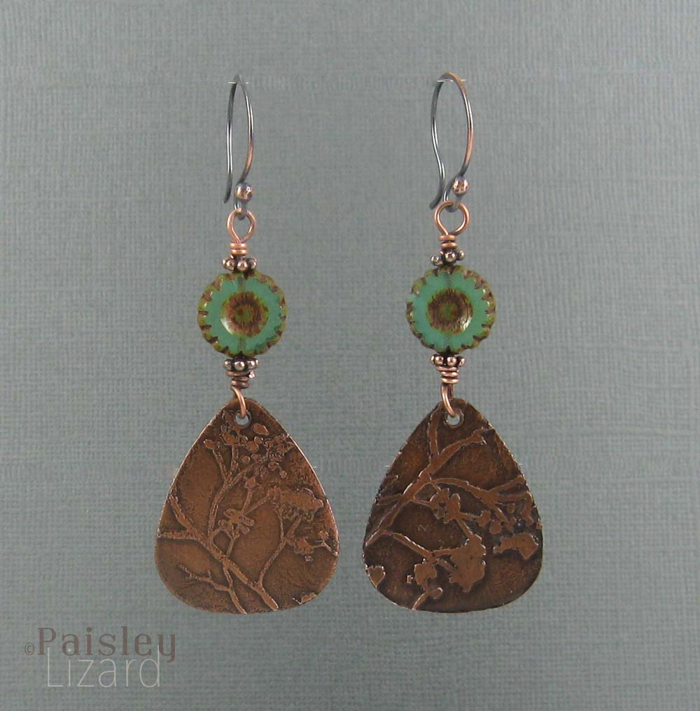Etched copper earrings with glass beads